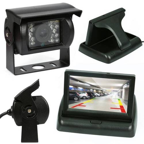 """2in1   PZ704 PZ470   Set - a reversing camera 18IR 12-24 with folding Monitor 4.3 """"TFT LCD"""