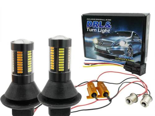DRL with 2in1 indicator   Bulbs 66 SMD 4014   Lights LED daytime   Automatic Module