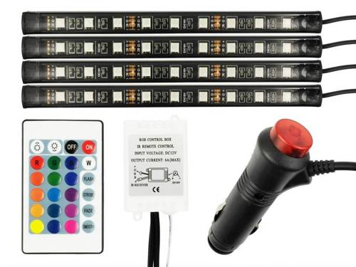 LED RGB lighting to the interior (cabin) with a remote control car cigarette lighter socket