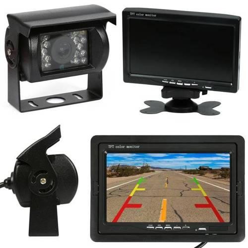 """2in1   PZ607 PZ470   Satz von 12 / 24V - 18IR 12-24 Rückfahrkamera mit Monitor 7 """"TFT LCD mit Fernbedienung"""