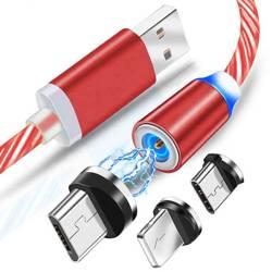 AM67 | 3w1 1M | Świecący kabel magnetyczny do ładowania telefonu z 3 końcówkami