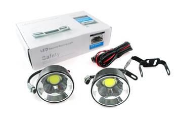 DRL 18 PREMIUM | Światła LED COB do jazdy dziennej | okrągłe ø 70 mm DRL-008O