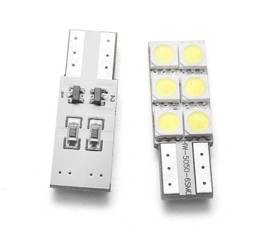 Żarówka samochodowa LED W5W T10 6 SMD 5050 CAN BUS jednostronna