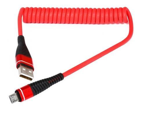 AM32 | Micro USB 1M | Spiralny kabel USB do ładowania telefonu | Quick Charge 3.0 2.4A