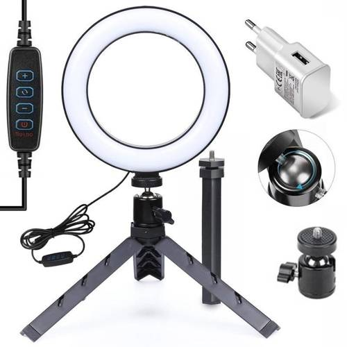 Lampa pierścieniowa RING LED 16 cm ze statywem 34 cm i ładowarką sieciową