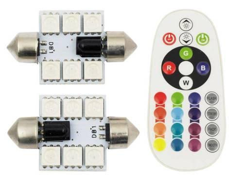 Zestaw RGB C5W   Dwie żarówki LED C5W RGB   Pilot do zdalnego sterowania kolorami