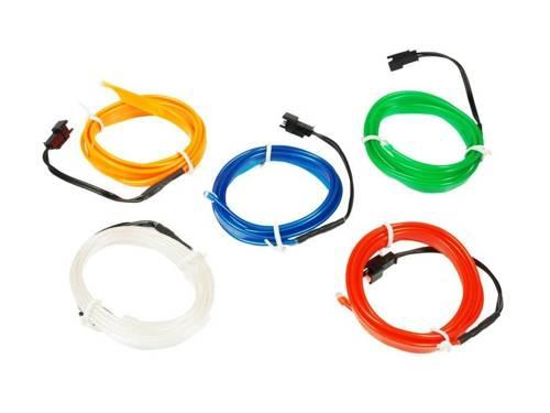 Zestaw - Światłowód Ambient Light EL Wire z inverterem 12V   1 metr